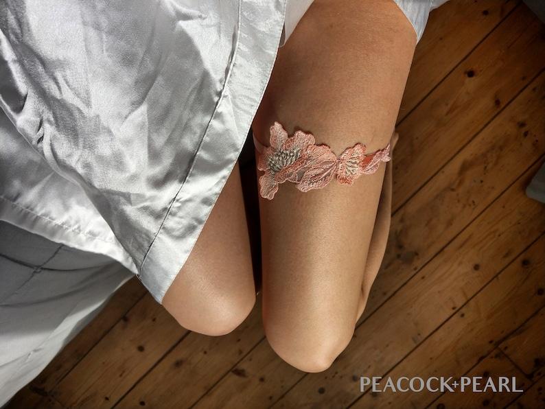 Delicate Bridal Garter Pink Guipure Lace Velvet Floral Garter Wedding Garter Belt Peach Bridal Garter
