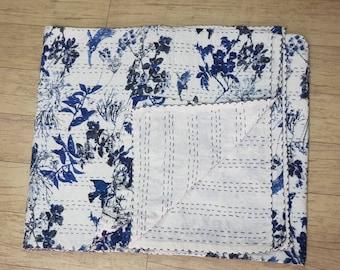 White Kantha Quilt Organic Cotton Kantha Pillowcase The Birdie