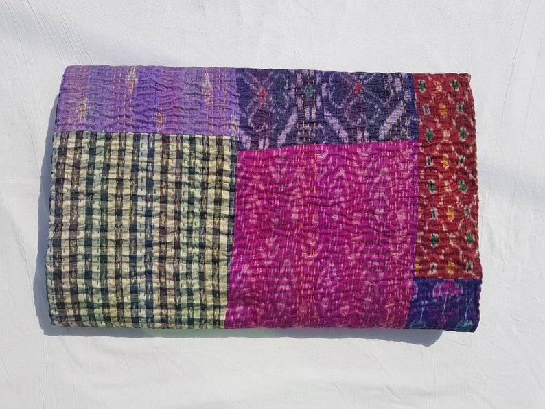 New Indian handmade pure cotton patchwork kantha blanket queen size kantha bedspread 108x90 queen kantha throw