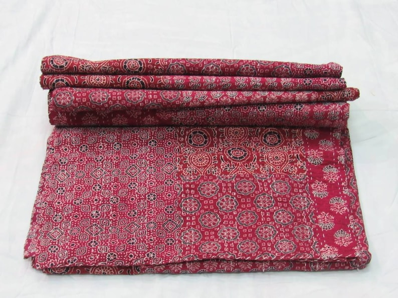 Vintage Indian Kantha Quilt Handmade Ajrakh hand block print 100/% Cotton Bed cover Bedspread Blanket Queen size Twin size King size