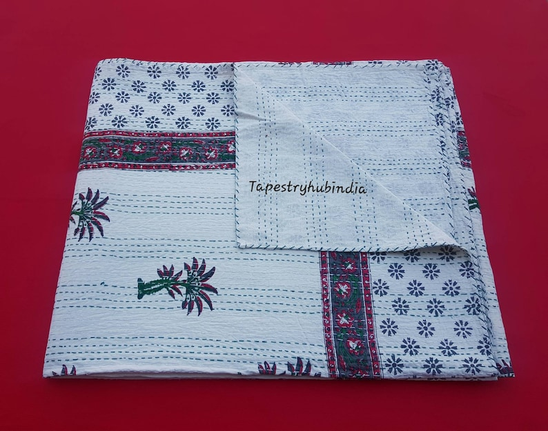 Cotton Hand Block Printed Indian Kantha Quilt 90x108 Inch Kantha Bed Cover Bedspread Kantha Throw Kantha Blanket Free Shipping