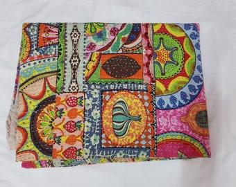 New Multicolour Kantha Quilt Queen Size Multi Kantha Gudri Blanket