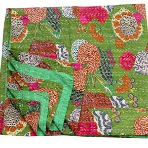 Indian Handmade Bohemian Bedspread 90x108 250 Handmade Kantha Ethnic Stitch Decorative Gudri Print King Size Quilt Kantha Quilt Gudri