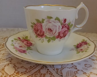 Vintage Jason Bone China Tea Cup and Saucer with Pink and White Roses