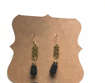 Short black tassle earrings with gold accent