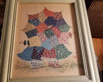 2 Vintage Patchwork Calico Holly Hobbie Prints