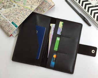 Leather traveler's wallet, leather passport organizer, Hand Stitched leather travel wallet
