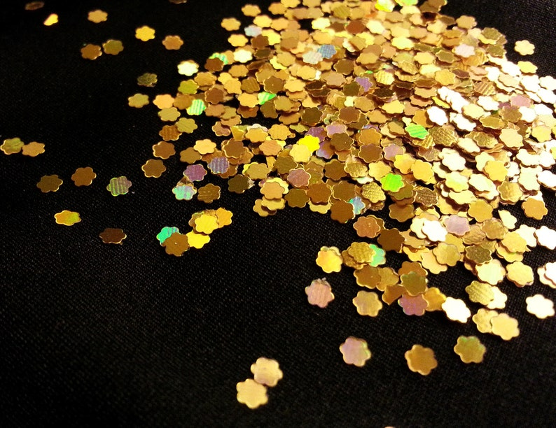 solvent-resistant glitter shapes-rich gold holo flowers--tumbler--nails