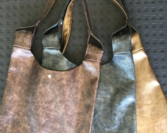 Metallic Gold, Black and Bronze Slouch Bag - Handbag