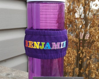 Embroidered water bottle cozy