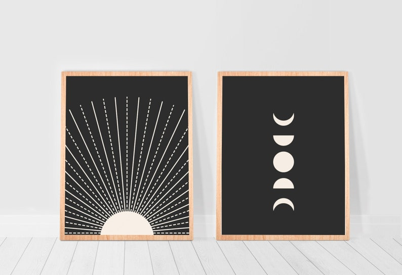 Sun and Moon Prints Wall Art Minimalist Posters Gallery Wall image 0