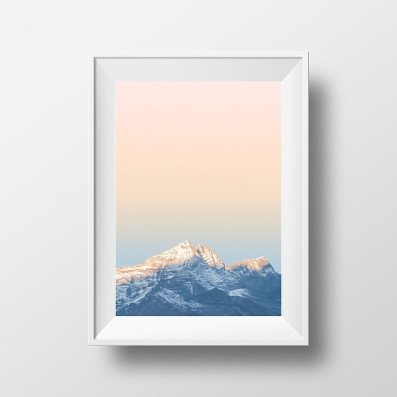 Blush Mountain Printable Wall Art Aesthetic Poster rose gold image 0