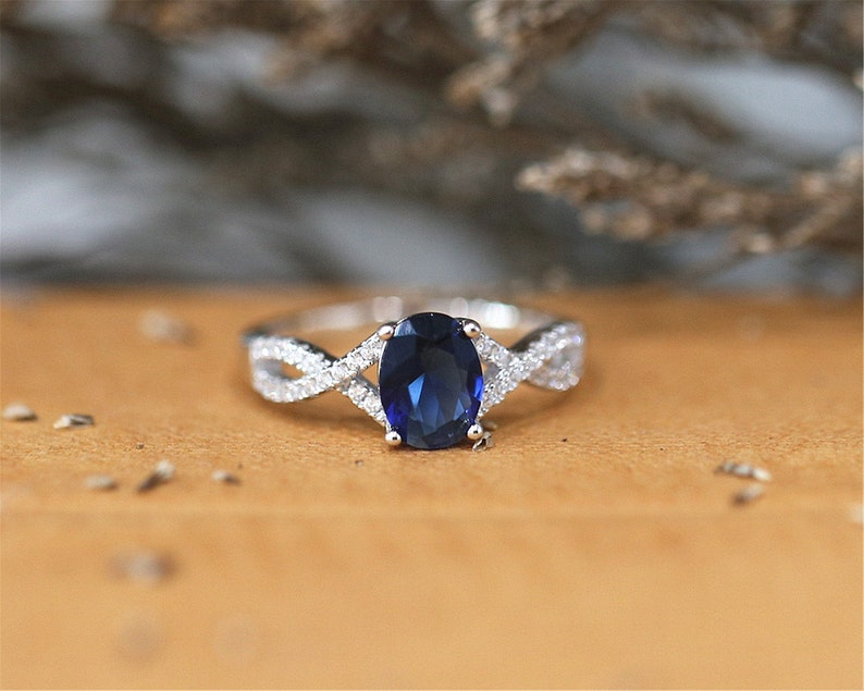 6*8mm Engagement Ring Oval Cut Lab Created Nano Sapphire Ring Gemstone Ring Sterling Silver Ring Bridal Ring