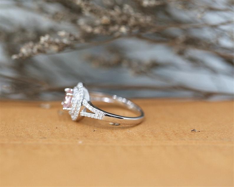 6mm Halo Ring Sterling Sliver Ring Round Cut Nano Morganite Gemstone Ring Engagement Ring Stackable Ring Handmade Bridal Ring