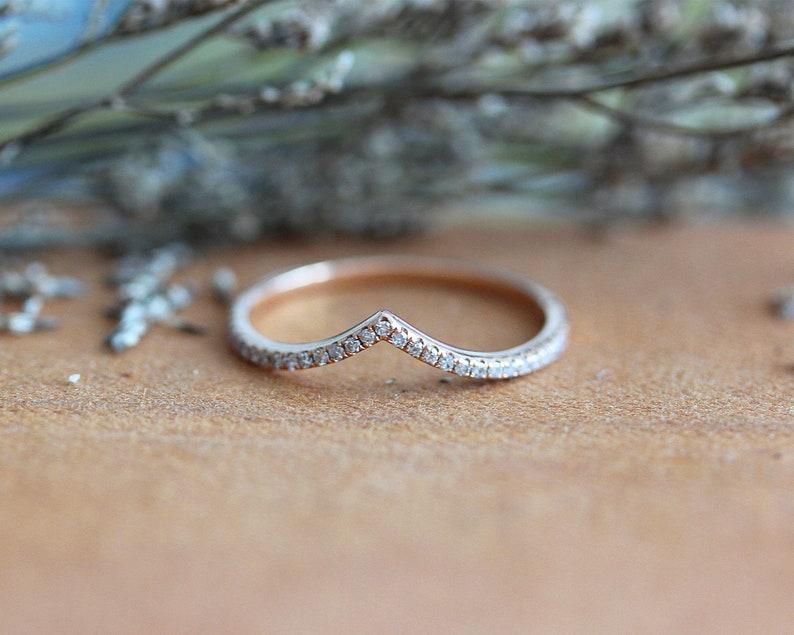 Matching Band Natural Diamonds Ring Wedding Band 14K Rose Gold Ring Stackable Ring Anniversary Ring Half Eternity