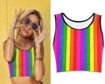 69b4b5c00f5 Rainbow Crop Top Pride Flag Colorful Cropped TShirt I Red Yellow Blue Green  Stripes Striped Alternative Clothing Statement
