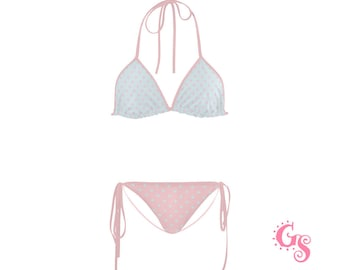 c828e9ad42 Pastel Bikini Polka Dots I Cute Set two piece light colors multicolor pink  blue dotted Swimwear - sexy Neckholder Top   Bottom Beachwear