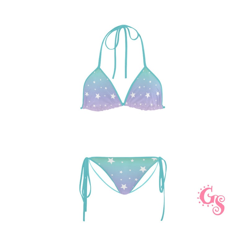 a95d72d4da0 Pastel Teal Rainbow Bikini Ombre purple Set Neckholder | Etsy