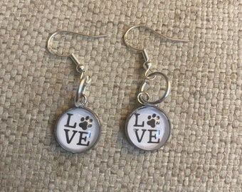 Love earrings, dogs, cats, rescue mom, rescue mom gift, handmade, love paws, paws, bezel setting, Cabochon, fashionable, animals, dog mom