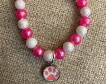 Paw charm bracelet, dogs,cats, Cabochon, charm bracelet, glass charm, animals, animal jewelry, rescue mom gift, CIJ, gift for her, under 20