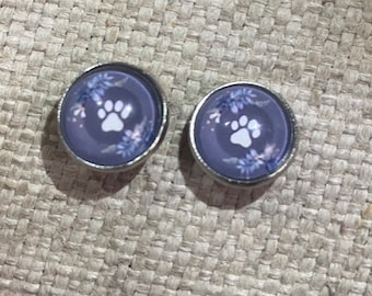 Paw stud earrings, paws, dogs, cats, paw print, stud earrings, animals, pets, pet jewelry, dog lovers, cat lovers, under 20, dog mom gift