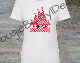 Custom Chevron Disney Castle with Name Shirt
