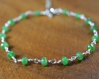 Personalized Jewelry Gift for Women Tsavorite Bracelet in Gold Rose Gold or Sterling Silver Green Garnet Bracelet January Birthstone