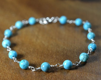 Turquoise Bracelet in Sterling Silver, 14k Gold // Natural Kingman Turquoise // December Birthstone // 11th Anniversary // Summer Jewelry