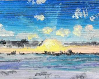 winter landscape mini oil painting