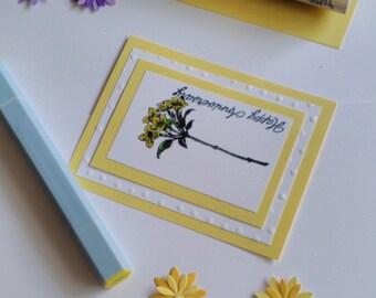 Yellow Hand Painted Happy Anniversary