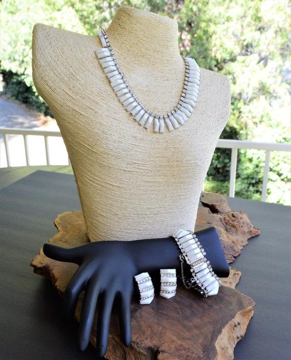 Kramer NY milk glass white necklace bracelet earrings set parure