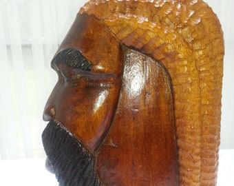 Vintage Hand Carved Wooden Retro Black Man Sculpture