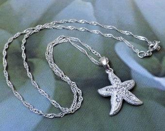 Rhinestone Starfish Necklace Bridal Jewelry Wedding Jewelry Beach Wedding Necklace Bridesmaids Gift Bride Necklace