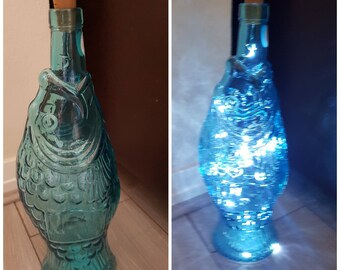 Unique vidrios san miguel recycled glass firefly lights in blue/green fish bottle