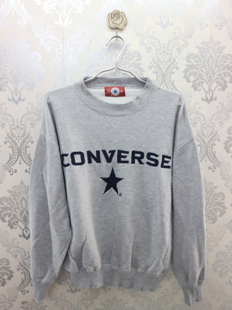 815829c360b81 Vintage Converse Sweatshirt Embroidery Logo Converse All Star Chuck Taylor  Streetwear Round Neck Pullover Converse Sweater Size L