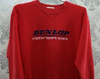 Vintage Dunlop Motorsport Scene Sweatshirt Embroidery Big Spell Out, Streetwear, Pullover, Racing Team, Sweatshirt, Dunlop, Size 3L