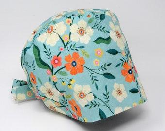 Scrub cap/ Surgical cap - AUGUSTA - Floral Pixie for Women - Preshrunk Cotton - Mimi Scrub Hats