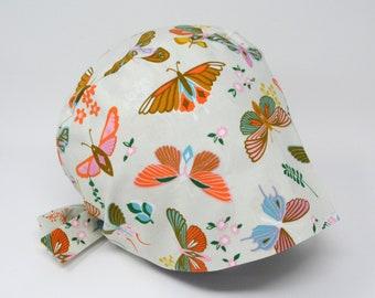 Scrub cap/ Surgical cap - BOTANICAL GARDEN - Butterfly Pixie - Preshrunk Cotton - Mimi Scrub Hats