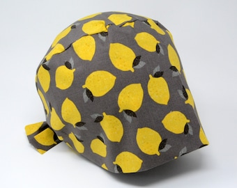 Scrub cap/ Surgical cap - LEMONS ON GREY - Pixie for Women - Preshrunk Cotton - Mimi Scrub Hats