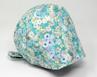 Scrub cap/ Surgical cap - ALEXIA - Floral Pixie for Women - Preshrunk Cotton - Mimi Scrub Hats