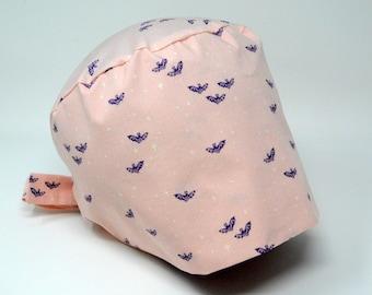 Scrub cap/ Surgical cap - Bats on Pink - Halloween Pixie - Preshrunk Cotton - Mimi Scrub Hats