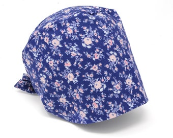 Denim blue floral Scrub hat