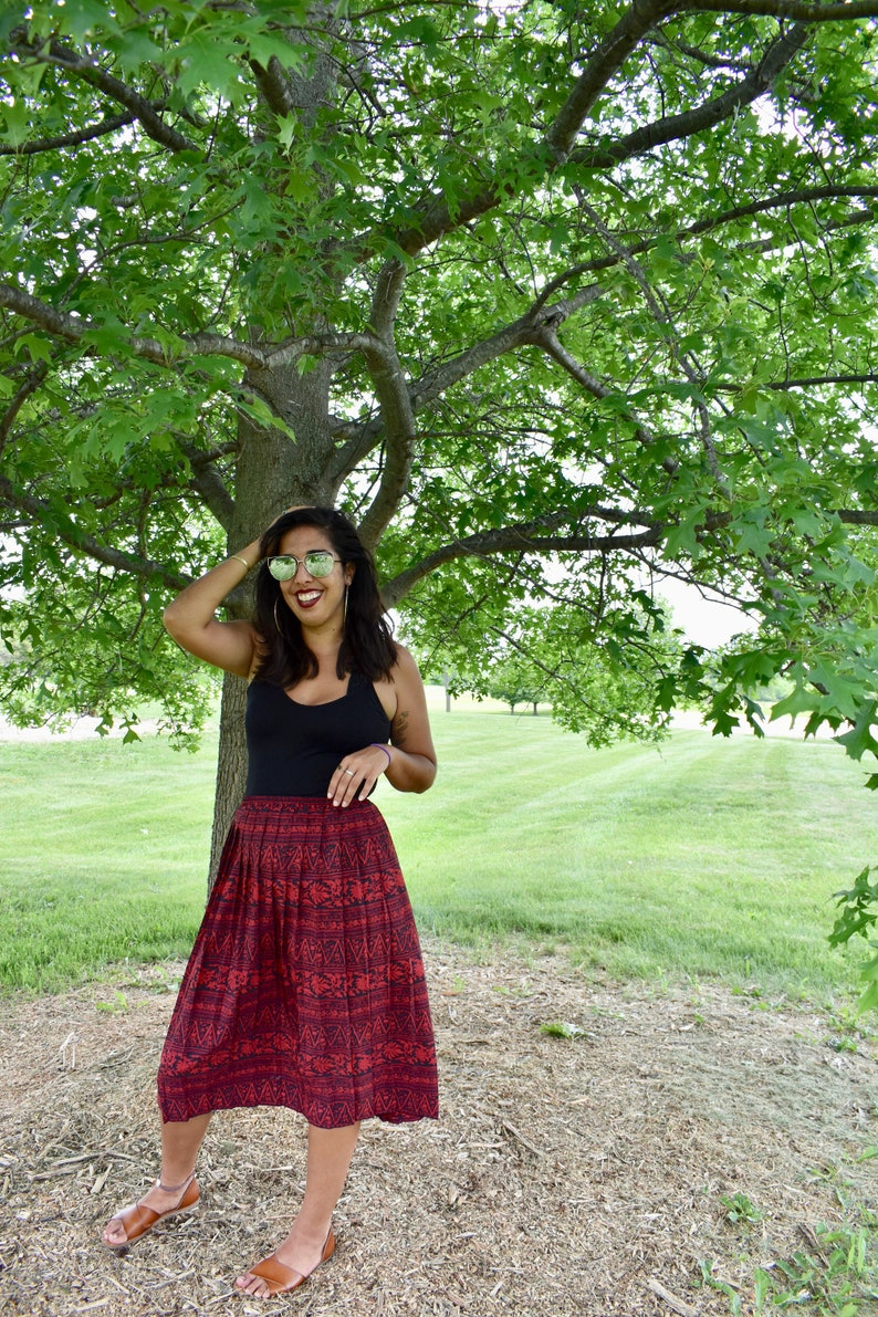 37bf3b8cc8a3 Vintage 80s Skirt Red Black Tribal Chevron Abstract Geometric | Etsy