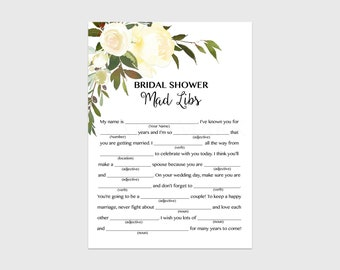 bridal shower mad libs game white floral bridal shower mad libs bridal shower game summer floral instant download 107 printable