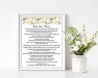 pass the poem bridal shower game white floral pass the poem game bridal shower game sign instant download printable 107