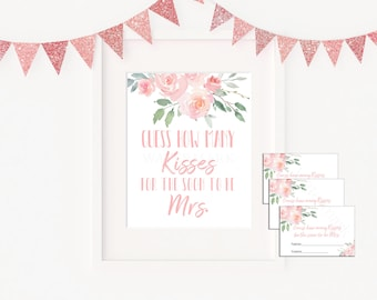 photograph regarding How Many Kisses for the Soon to Be Mrs Free Printable referred to as How several kisses Etsy