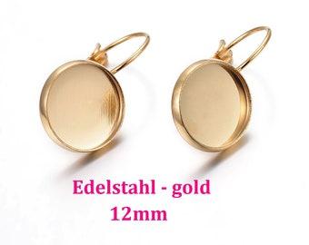 10 x stainless steel gold plated earrings 12 mm inside, earrings earring blank earring frame cabochon frame (BR47)