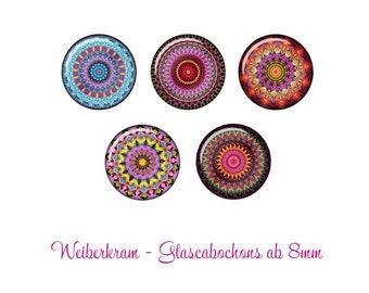 Handmade Edelstahl Cabochon Ohrstecker Motiv Mandala Violett 2