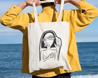 Girl illustration, screen printed organic cotton tote bag