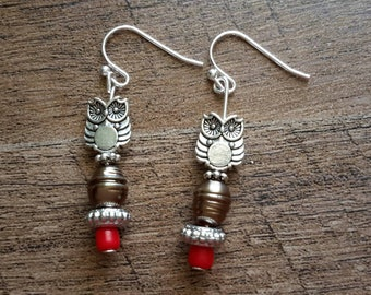 Handmade Dangle Drop Owl Always Love You Earring's with Red Bead Accent